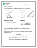 Geometry Right Triangle Trigonometry, Pythagoreans Theorem