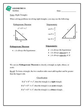 Geometry Right Triangle Trigonometry, Pythagoreans Theorem