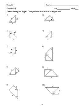 Geometry - Right Triangles - Homework Pack