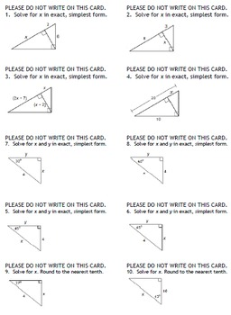 Right Triangles Review Game (Geometry)