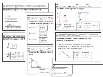Right Triangles - Unit 6: Right Triangles Trig Bellwork / Station Questions