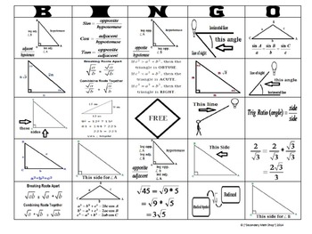 Right Triangles - Right Triangles Trigonometry Square Roots BINGO Game!