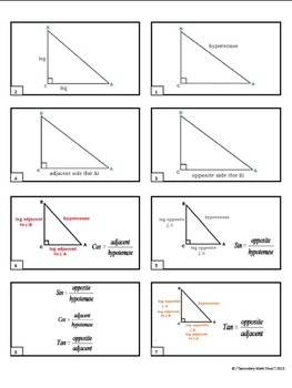 Right Triangles -  Right Triangles Trigonometry Square Roots Note Cards