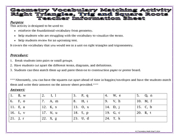 Right Triangles - Right Triangles Trig. Square Roots Vocabulary Matching Act.
