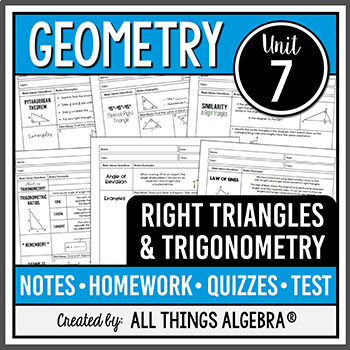 Right Triangles and Trigonometry (Geometry - Unit 8) by ...