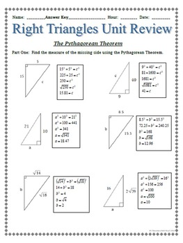 Right Triangles - Unit Review Bundle