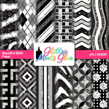 Black and White Paper {Scrapbook Backgrounds for Task Cards & Brag Tags}