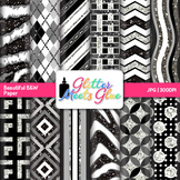 Black and White Scrapbook Paper Backgrounds {Glitter Meets Glue}
