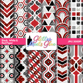 Black, White, Red Paper | Scrapbook Backgrounds for Task Cards & Class Decor