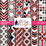 Black, White, Red Scrapbook Paper Backgrounds {Glitter Meets Glue}