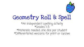 Geometry Roll and Spell Differentiated Vocabulary Activity