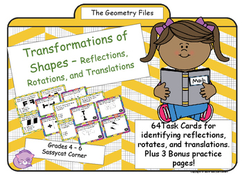 Geometry - Rotations, Translations, and Reflections of Shapes Task Cards