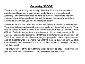 Geometry SCOOT - 2nd Grade Review or Assessment Activity -