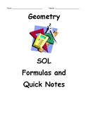 Geometry SOL Formulas and Notes Summary Booklet