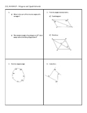 Geometry SOL Polygons and Quadrilaterals Warmup Exit Ticket Worksheet