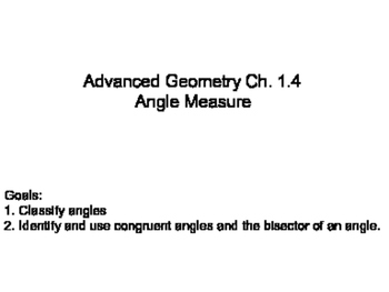 Geometry SS 1.4 - Angle Measure