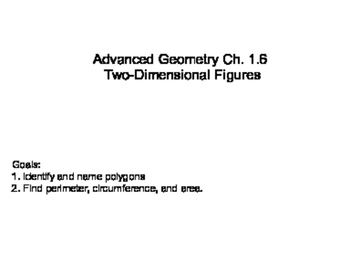 Geometry SS 1.6 - Two - Dimensional FIgures