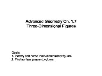 Geometry SS 1.7 - Three - Dimensional Figures
