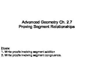 Geometry SS 2.7 - Proving Segment Relationships