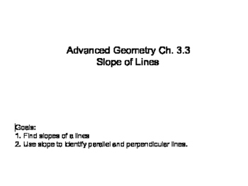 Geometry SS 3.3 - Slopes of Lines