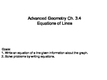Geometry SS 3.4 - Equations of Lines