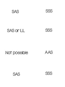 sss sas asa aas hl and ll proof congruence flash cards geometry sss sas asa aas hl and ll proof congruence flash cards