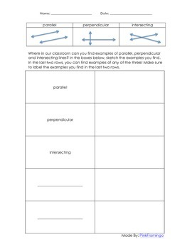 Geometry Scavenger Hunt - Parallel, Perpendicular and Intersecting Lines