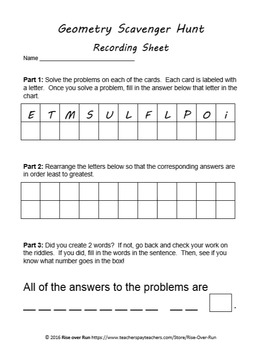 Perimeter and Area Scavenger Hunt or Task Cards