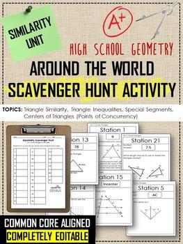 Geometry Scavenger Hunt: Similarity, Triangle Properties & Segments