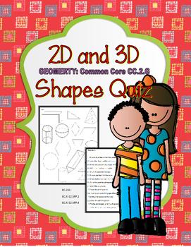 Geometry Second Grade 2D 3D Shapes Quiz
