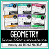 Geometry Second Semester - Notes, Homework, Quizzes, Tests Bundle