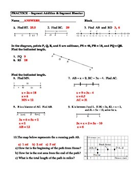 Geometry Unit 1 Segment Addition and Segment Bisector Worksheet