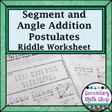 Segment Addition and Angle Addition Postulates Riddle Worksheet