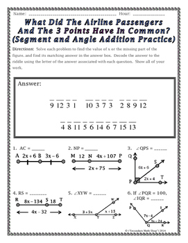 Segment and Angle Addition Postulates Riddle Worksheet by Secondary ...