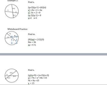 Geometry- Segments in Circles Lesson - Common Core