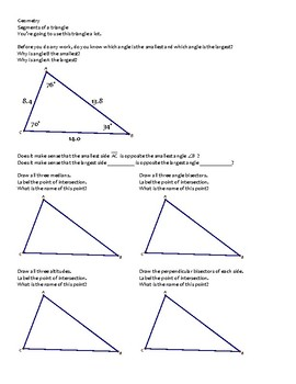 Geometry -- Segments of triangles, median, altitude, bisectors - Concurrency