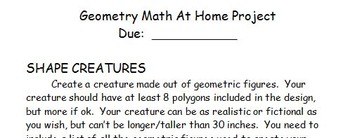 Geometry Shape Creature Math Project