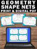 Shape Nets, 3D Shapes, 6th Grade Math Review, Geometry Task Cards
