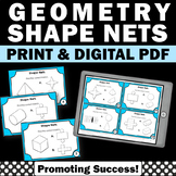 3D Shape Nets Geometry Task Cards 6th Grade Math Review Scavenger Hunt
