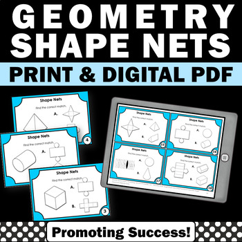 Geometry 3D Shape Nets 6th Grade Common Core Math Review Stations