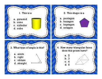 Geometry, Shapes, Angles Scoot, Center Activity, Task Cards