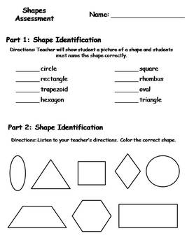 Geometry Shapes Assessment {FREEBIE}