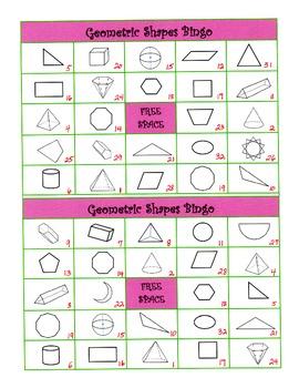 Geometry Shapes Bingo - Common Core