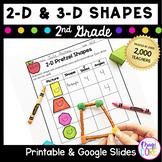 Geometry 2-D & 3-D Shapes 2nd Grade 2.GA.1 Google Slides Distance Learning Pack