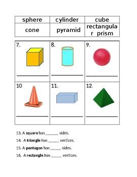 Geometric Shapes (2D & 3D) Test