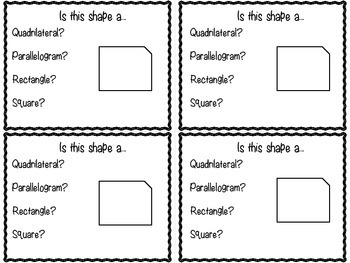 Geometry: Shapes and Their Attributes Review Cards