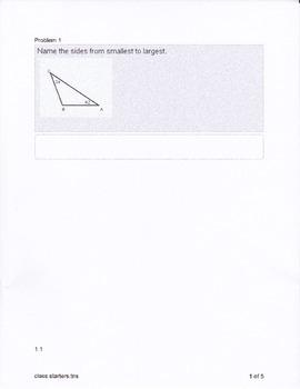 Geometry Similar Polygons Class Starters