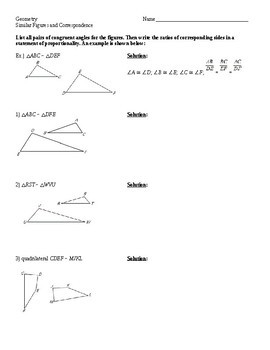Geometry - Similar Polygons and Scale Factor WS (key included)