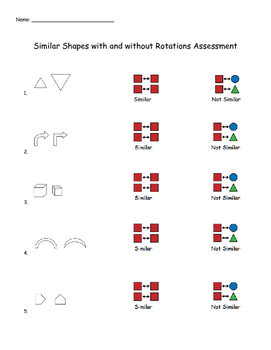 Geometry: Similar Shapes with and without Rotations Assessment