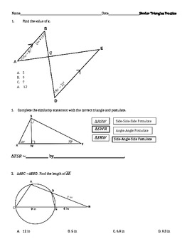 Geometry Similar Triangles Practice Problems
